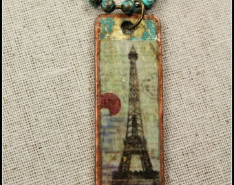 Eiffle Tower Wanderlust Global Travel Urban Gypsy  Hipster Parisian Pendant Necklace