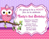 Owl Invitation - Owl Baby Shower Invitation - Pink Purple DIY Printable Birthday Party Invites - JPEG File #5,6