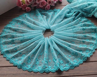 2 Yards Lace Trim Lakeblue Floral Embroidered Tulle Lace Trim 8.26 Inches Wide High Quality