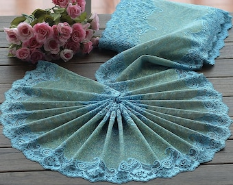 2 Yards Lace Trim Lakeblue Floral Embroidered Tulle Lace Trim 9 Inches Wide High Quality