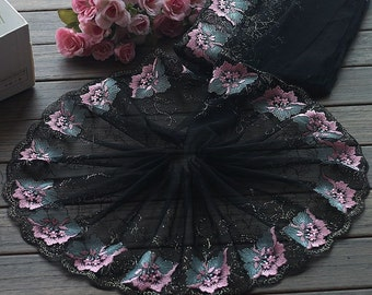 2 Yards Embroidered Lace Trim Big Flower Embroidered Tulle Lace Trim 7.48 Inches Wide