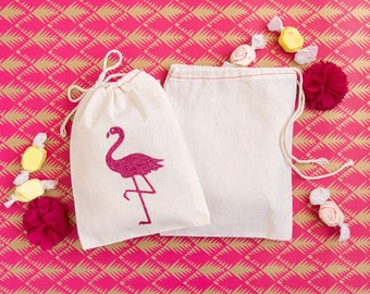 Flamingo Favor Bags - Glitter Flamingo Party Favors - Flamingo Wedding Favors - Flamingo Party - Let's Flamingle - Beach Wedding Favors