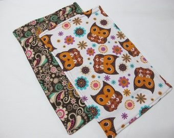 Owl baby burp cloths in a set of 2