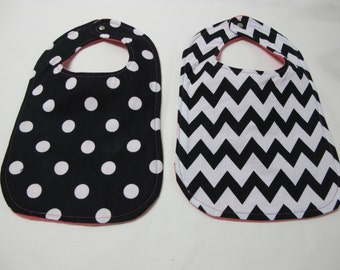 Toddler girl black and white bib set with hot pink back