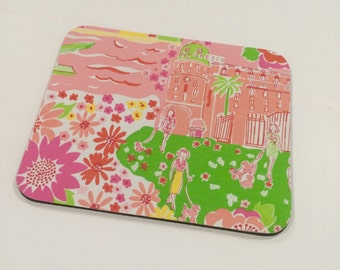 Mouse Pad  made with Lilly Pulitzer Signature Fabric Multi Mediterranean