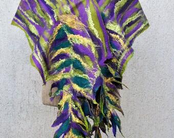 SALE - Beautiful shawl, felted scarf, silk, wool, nuno, felted, gift, fibre art, green, purple, black, yellow