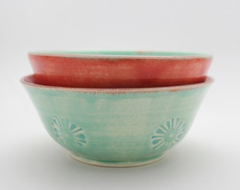Pair of Handmade Bowls in Melon and Mint