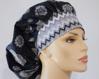 Bouffant Surgical Scrub Hat - Grey Medallions and Swirls with a Grey Cheron Headband