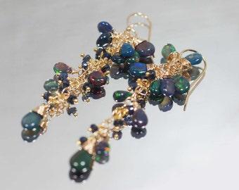 Black Opal Earrings, Long Chandelier Earrings,Opal Earrings  Wire Wrap 14K gold filled Jewelry