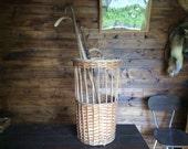 Vintage French large baguette bread walking cane umbrella round wicker display carrying market basket holder circa 1960-70's / English Shop