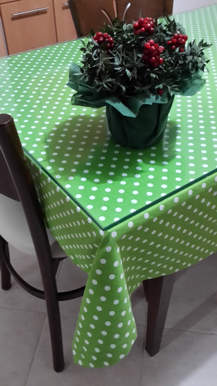 Green Polka Dot Tablecloth Duck Linen Square Rectangle