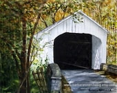 Covered Bridge Print, Covered Bridge Painting, Covered Bridge Wall Art, Americana Art, Covered Bridge Watercolor, Historic Home Decor Gift