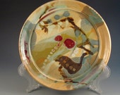 Porcelain Dinner Plate With Multiple Colors Of Red, Yellow, Green, Off White, Rust, Dark Brown, Ready To Ship