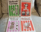 4 Vintage Shellcraft Books - Projects for Beginners - Shellcraft Earrings, Shellcraft Secrets, Shellcraft Animals and Shellcraft Creations