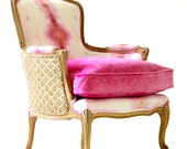 "French Bergere Upholstered ""Pink Opal"" chair"