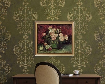 Italian Damask Wall Stencil - Classic Large Wallpaper Designs - European Wall Mural Painting