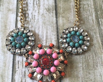 Gorgeous pink and orange medallion statement necklace