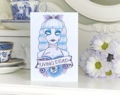 Living Dead Zombie Girlfriend tattoo handmade birthday card