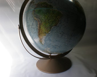 "Vintage World Globe Replogle Raised Relief 12"" Land and Sea"