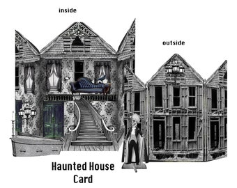 Halloween printable Haunted House card with accessories gothic instant download