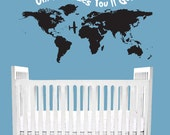 Dr Seuss Nursery Wall Decal Quote Oh The Places You'll Go Crib Bedding Wall Art World Nautical travel map Bedroom