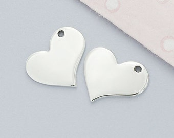 4 of 925 Sterling Silver Heart Charms 11x12.5 mm. . :tk0029