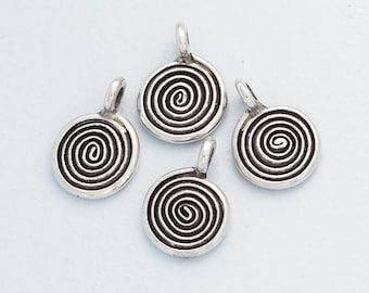 4 of Karen Hill Tribe Silver Swirl Charms 9 mm. :ka4133