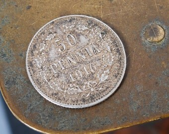 Finland Under Imperial  Russia sterling silver 50 pennia coin, 1916