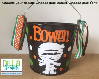 Halloween bucket: Personalized halloween trick or treat metal bucket, 5 quart, black with cute mummy, other colors and designs available