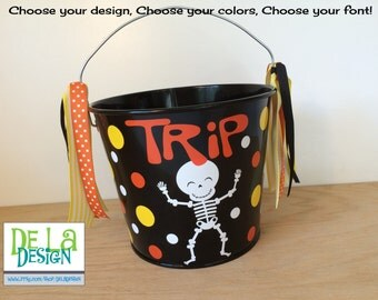 Halloween bucket: Personalized halloween trick or treat metal bucket, 5 quart, funky skeleton, other colors and designs available, candy bag