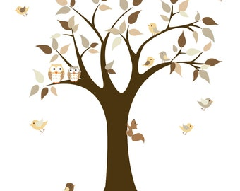 Tree Decal-Nursery Wall Decal-Tree Decal with Birds-Children's Nursery Decals