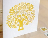 Valentine's Mothers day Spring, Letterpress Summer Sunshine Card Scandinavian Folk Style yellow mustard Tree of Life made in Australia