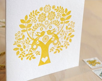 Mother's Day's, sweet pretty card, Valentine's Day Spring, Letterpress Card Scandinavian Folk Style, yellow mustard, Tree of Life, Nordic