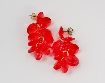 Vintage Clear Bright Red Plastic Beaded Pierced Dangle Cluster Cha Cha Retro Earrings