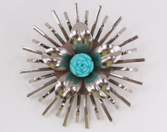 Vintage Silvertone Teal Blue Flower Carved Style Molded Starburst Pointed Spiky Prong Silver Tone Art Nouveau Circle Pin Brooch