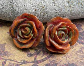 Rose Earrings - Southwestern Rose Earrings - Copper Caramel Rose Earrings - Rose Stud Earrings -