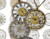 Antique Watch Faces for Pendant DIY Jewelry Fob Decoupage Clock One Inch Circles 1 Rounds Inchies Magnets Buttons Printable Download 249