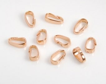 10 pcs: rose gold vermeil bail, heavy 19 gauge, rose gold plated over sterling silver, bright rose gold color, 3X9mm