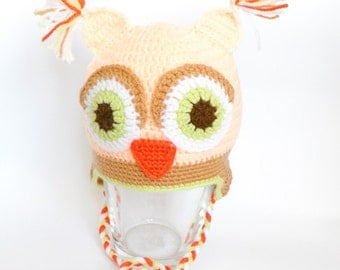 Owl hat, Crochet baby hat, baby owl hat, hat with earflaps, crocheted winter hat, READY TO SHIP