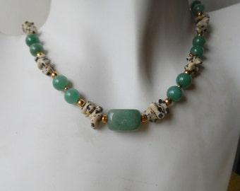 Green Aventurine Pendant with Black and Beige Dalmation Jasper Choker Necklace