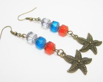 Starfish Earrings Beachy Earrings Czech Cathedral Beads Bronze Starfish Charms Light Blue Aqua Blue Bright Orange Beads