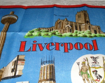 Vintage Unused Irish Linen Towel Souvenir of Liverpool by Irish Cabin Linens
