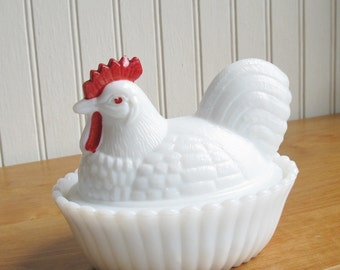 Vintage Westmoreland Hen on Nest Covered Dish - Milk Glass Red Painted Comb Wattle - Farmhouse Country Cottage