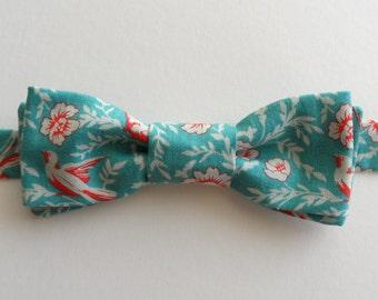 Bird & Floral Bow Tie in Aqua, White, Red // Cotton, Adjustable Tie