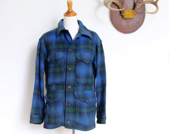 Pendleton Coat // Mackinaw Plaid Wool Cruiser Hunting Jacket // Mens Medium Blue Tartan Plaid