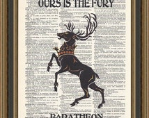 Game of Thrones House Baratheon Sigil and Our is the Fury illustration printed on a vintage dictionary page. House Baratheon Print, Wall Art