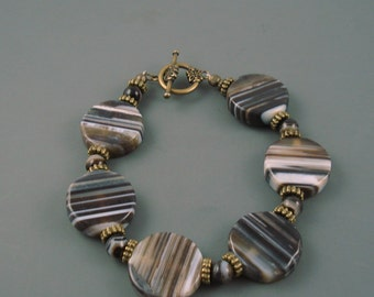 Striped Agate Bracelet, Chunky Brown and Black Bracelet
