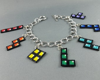 Tetris Charm Bracelet - Pixel Bracelet Tetris Bracelet Geeky Bracelet Nerdy Bracelet Geeky Gifts Video Game Jewelry