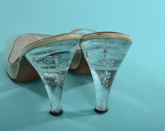 Vintage 1950s Springolator Lucite Shoes - Wedding High Heel - Bridal Fashions Size 8