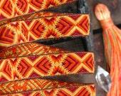 "Autumn Fire Ribbon, Trim, Sari Border, India, 3/4"" x 1 yard, Bright Red, Orange, Yellow, Craft, Decorating, Sewing Supplies, Decor"